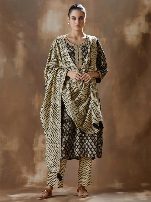 Black Cotton Festive Wear Pant Salwar Suit