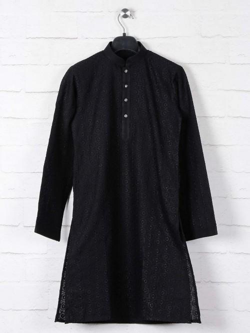 Black Cotton Kurta Suit With Lucknowi Thread Work