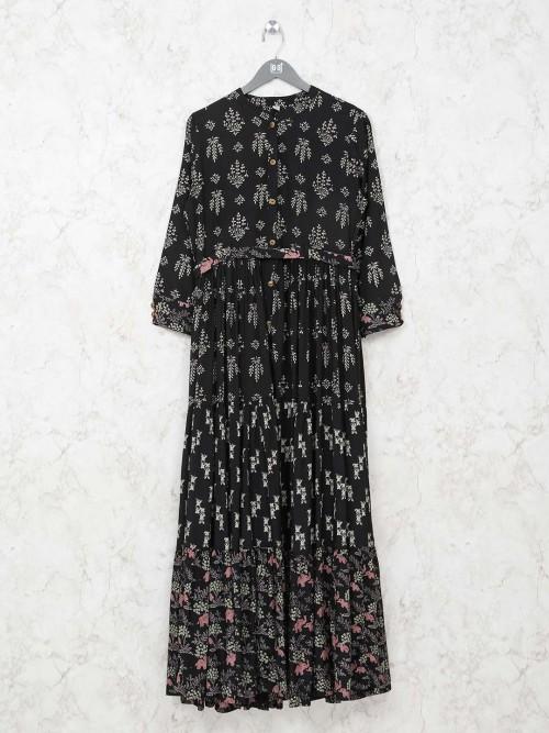 Black Cotton Kurti In Printed Design