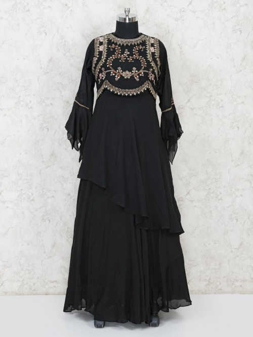 Black Cotton Party Wear Anarkali Salwar Suit