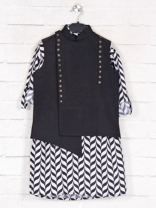 Black Cotton Party Wear Boys Waistcoat