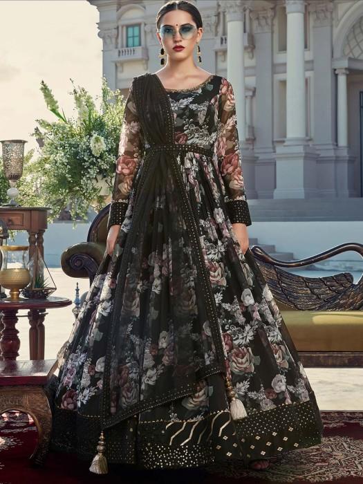 Black Georgette Printed Anarkali Suit