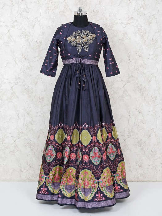 Black Cotton Silk Floor Length Anarkali Salwar Suit