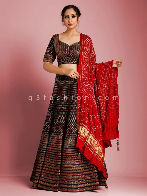 Black Cotton Silk Lehenga Choli For Party Function