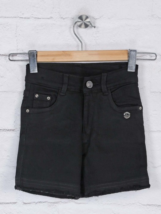 Black Denim Casual Wear Shorts