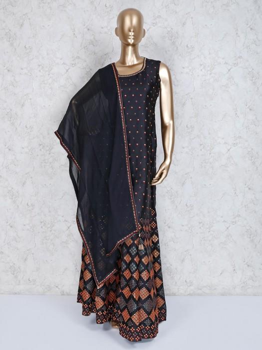 Black Designer Cotton Silk Punjabi Palazzo Suit