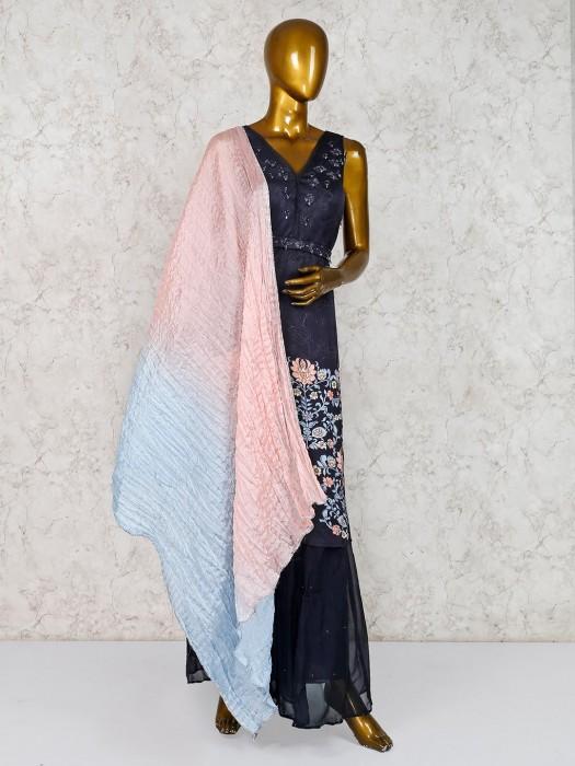Black Designer Cotton Silk Punjabi Sharara Suit
