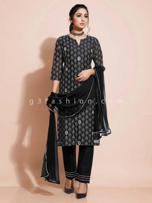 Black Designer Pant Style Salwar Suti Cotton For Festivals