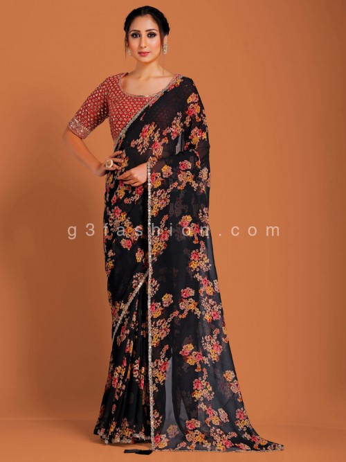Black Digital Floral Print Georgette Saree With Contrast Readymade Blouse