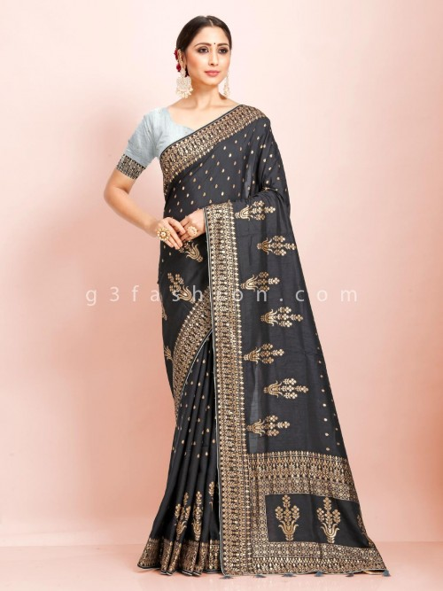 Black Dola Silk Traditional Wear Sari