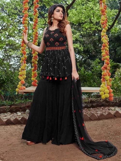 Black Georgette Designer Party Wear Sharara Suit