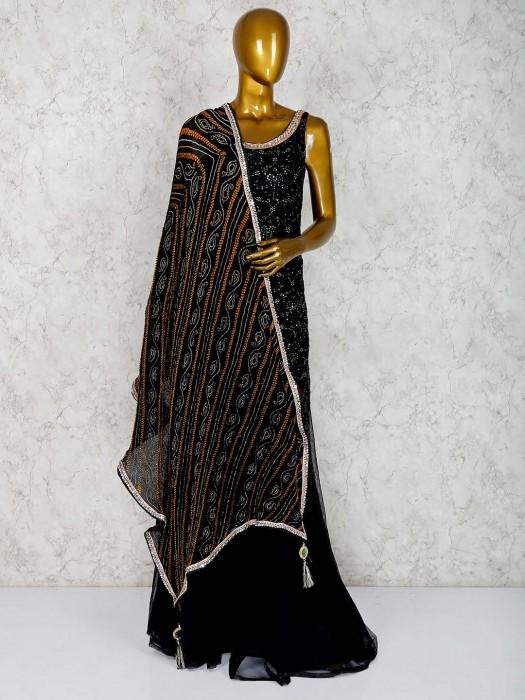 Black Georgette Fabric Punjabi Palazzo Suit