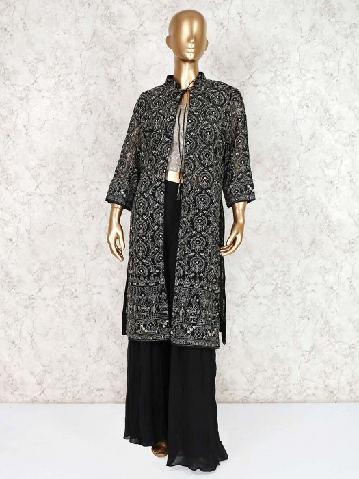 Black Georgette Indo Western Palazzo Suit