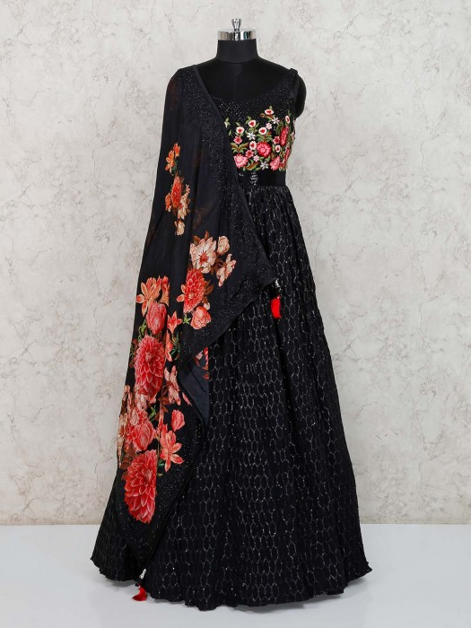 Black Georgette Party Anarkali Suit