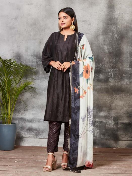 Black Hue Chanderi Silk Punjabi Salwar Suit