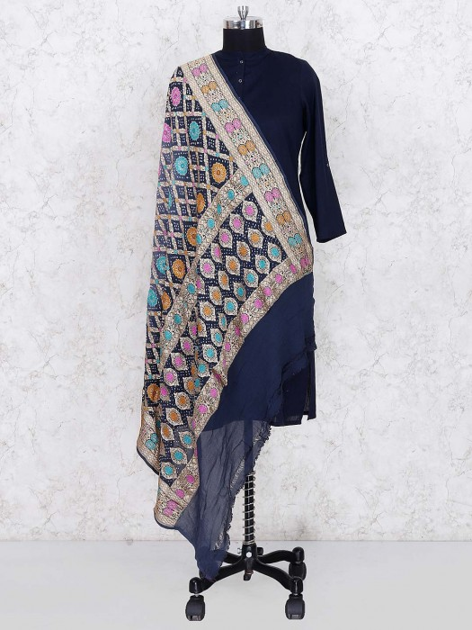 Black Hue Gajji Silk Wonderful Dupatta