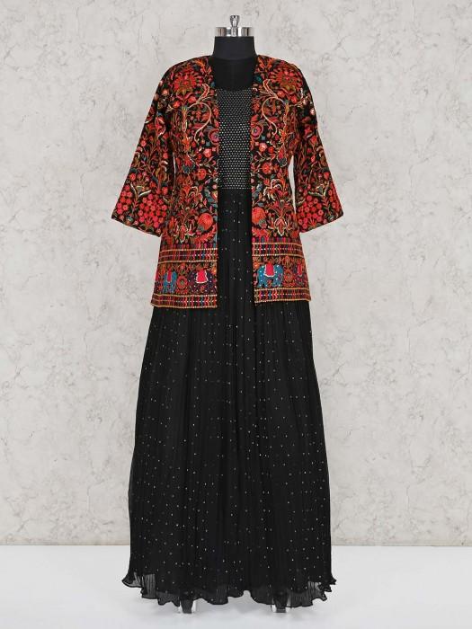 Black Jacket Style Georgette Anarkali Suit