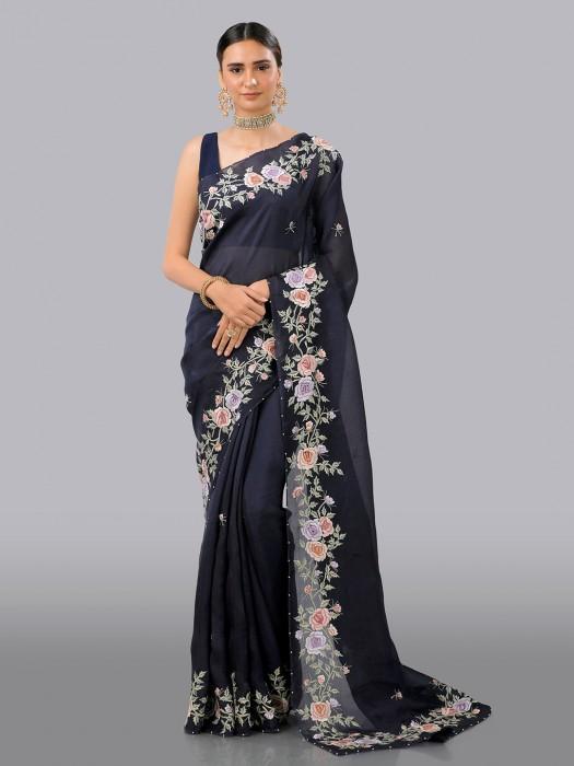Black Premium Organza Tissue Silk Saree