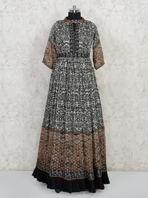 Black Printed Designer Floor Length Anarkali