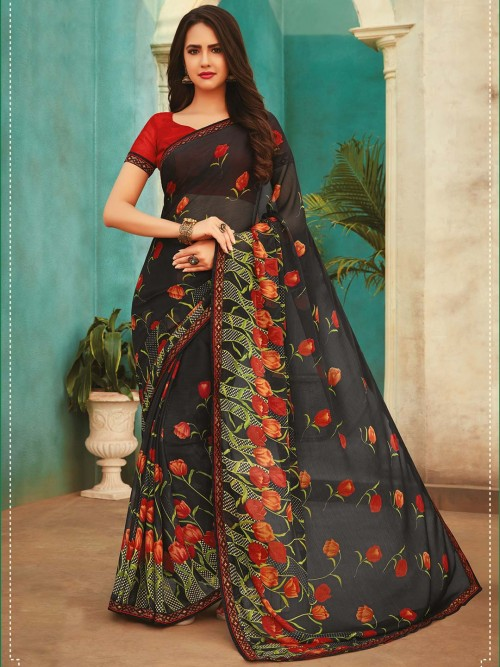 Black Printed Saree For Festive In Georgette