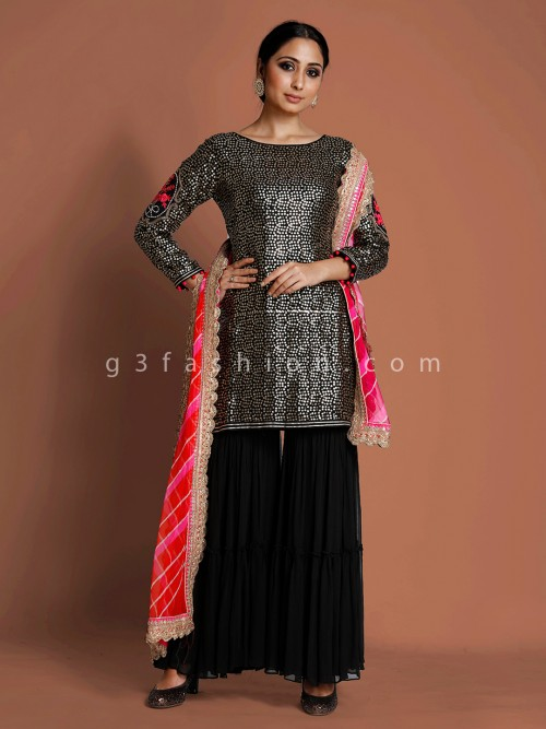 Black Raw Silk Party Wear Punjabi Sharara Suit