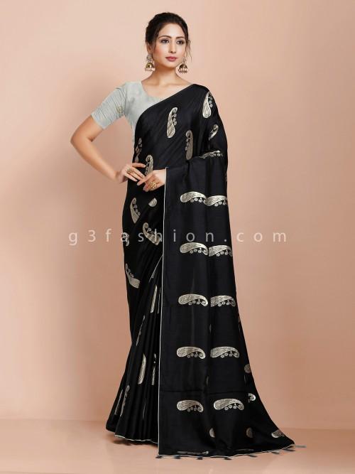 Black Saree In Dola Silk