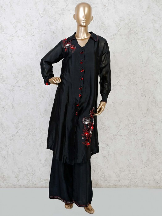 Black Satin Full Sleeves Punjabi Palazzo Suit