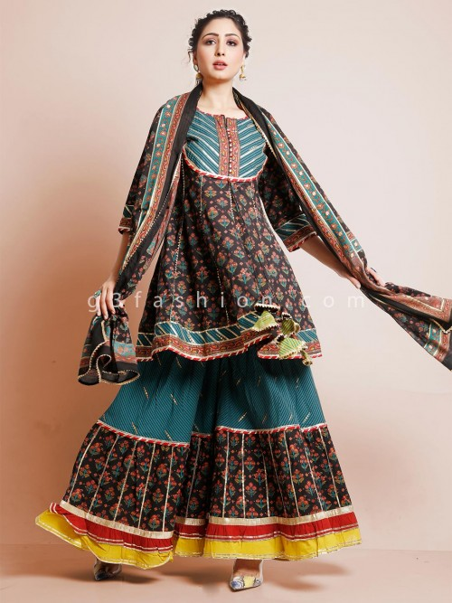 Black Sharara Suit In Cotton With Printed Style