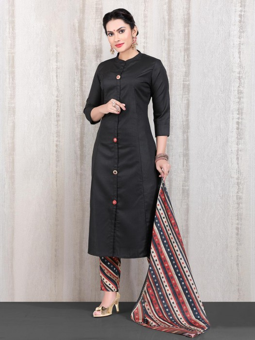 Black Solid Casual Straight Cut Punjabi Pant Suit In Casual