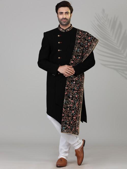 Black Solid Terry Rayon Mens Indo Western Wedding Wear