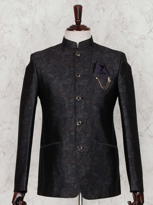 Black Terry Rayon Printed Jodhpuri Suit