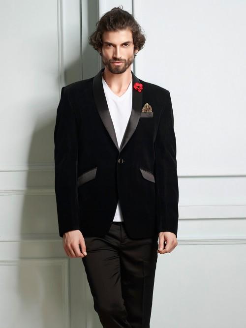 Black Velvet Fabric Party Wear Blazer