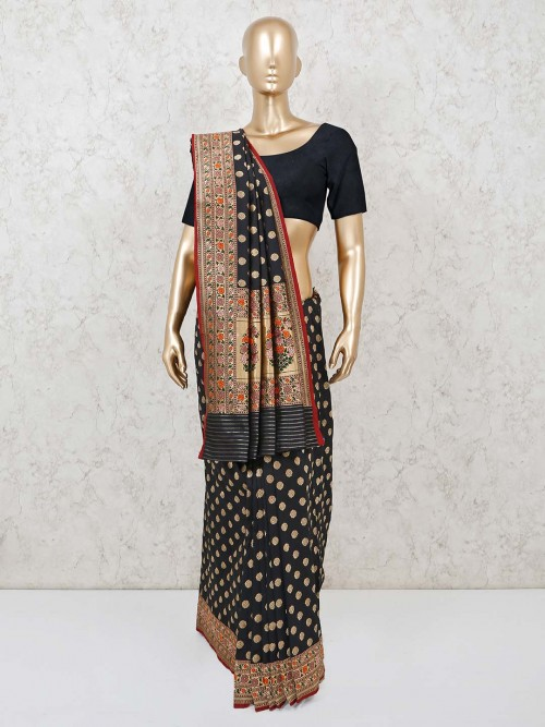 Black Zari Weaving Banarasi Silk Saree