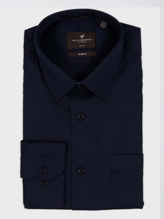 Blackberry Solid Cotton Navy Shirt