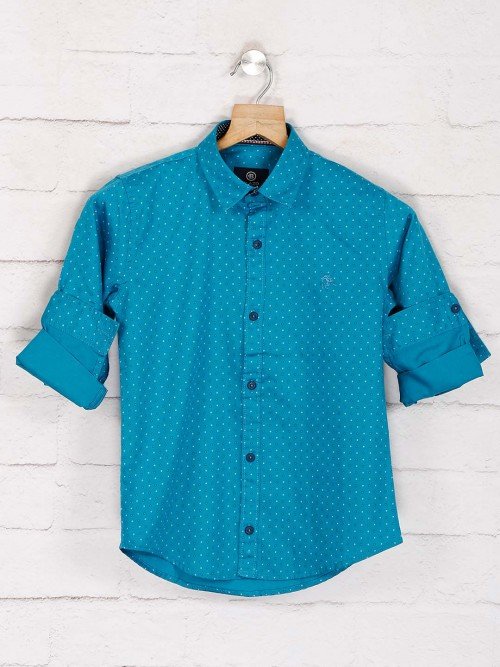 Blazo Blue Printed Casual Wear Shirt