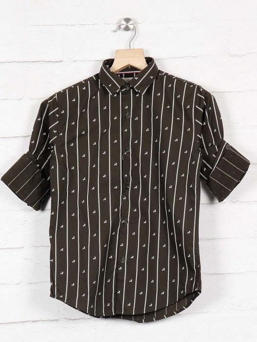 Blazo Casual Wear Green Stripe Shirt