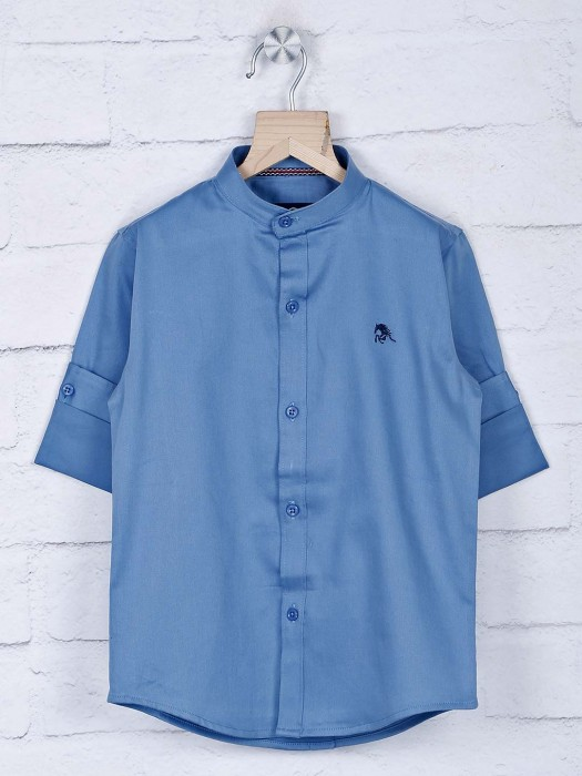 Blazo Chinese Collar Blue Casual Shirt