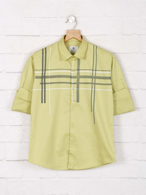 Blazo Green Checks Slim Collar Shirt
