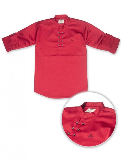 Blazo Magenta Solid Full Sleeve Kurta Shirt