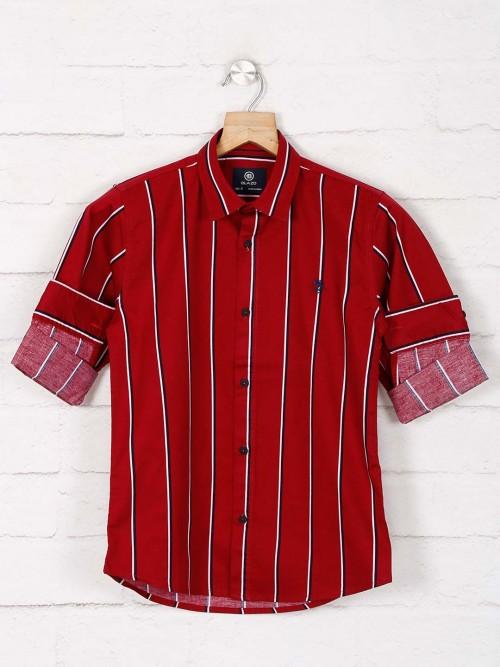 Blazo Maroon Stripe Cotton Casual Shirt