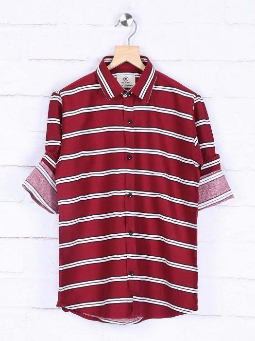 Blazo Maroon Stripe Pattern Casual Shirt