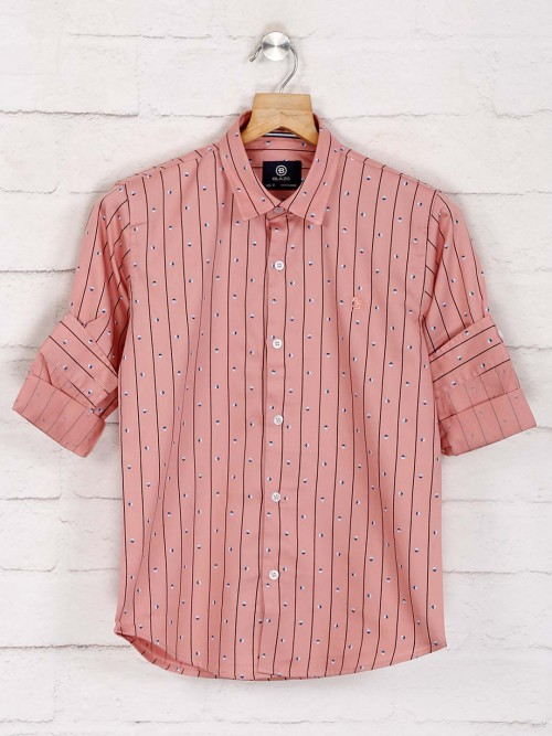 Blazo Peach Stripe Slim Collar Shirt
