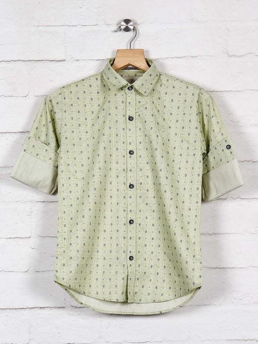 Blazo Pista Green Slim Fit Printed Shirt