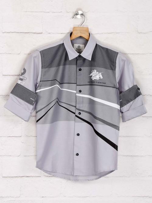 Blazo Presented Grey Printed Shirt