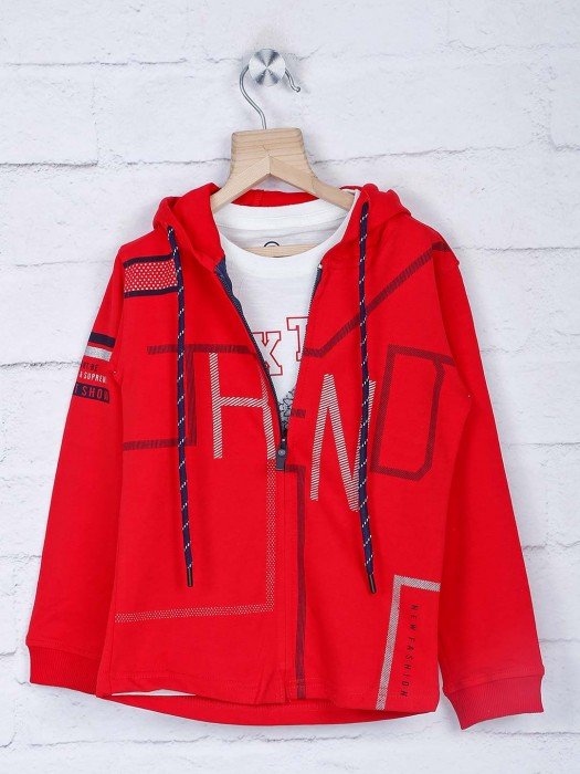 Blazo Red Printed Jacket With T-shirt