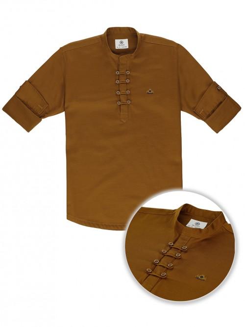 Blazo Solid Brown Casual Wear Kurta Shirt