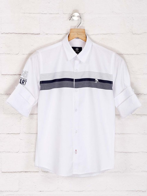 Blazo Stripe White Full Sleeves Shirt