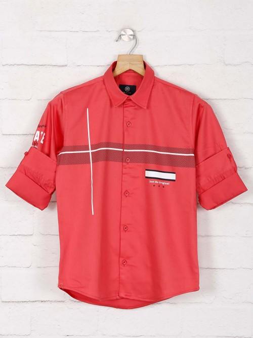 Blazo Tomato Red Cotton Fabric Boys Shirt