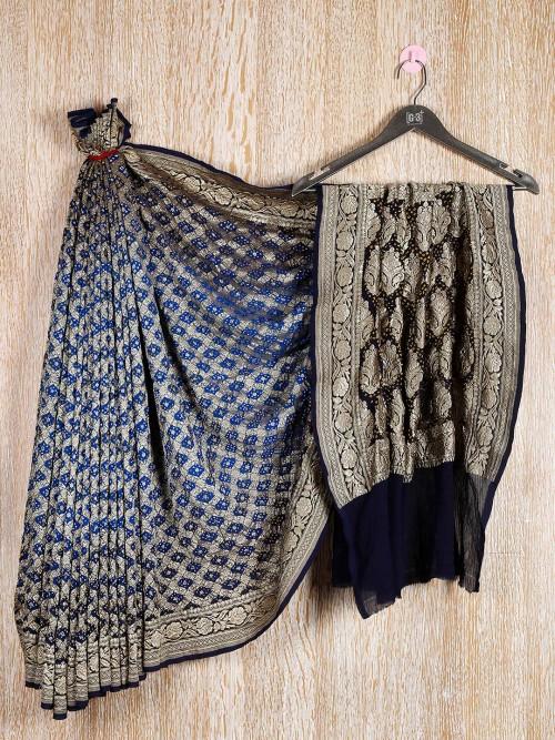 Blue And Black Combination Bandhani Saree