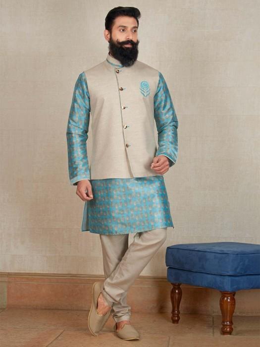 Blue And Cream Terry Rayon Waistcoat Set